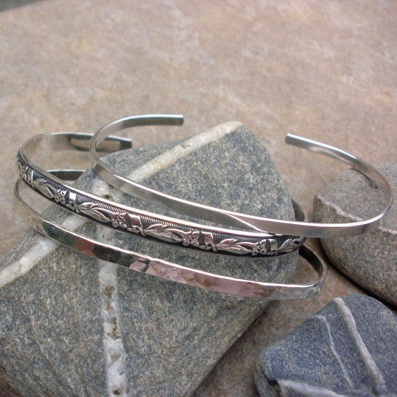 Sterling Silver Cuff Bracelet - Sterling Silver Smooth Shiny Finish - product images  of