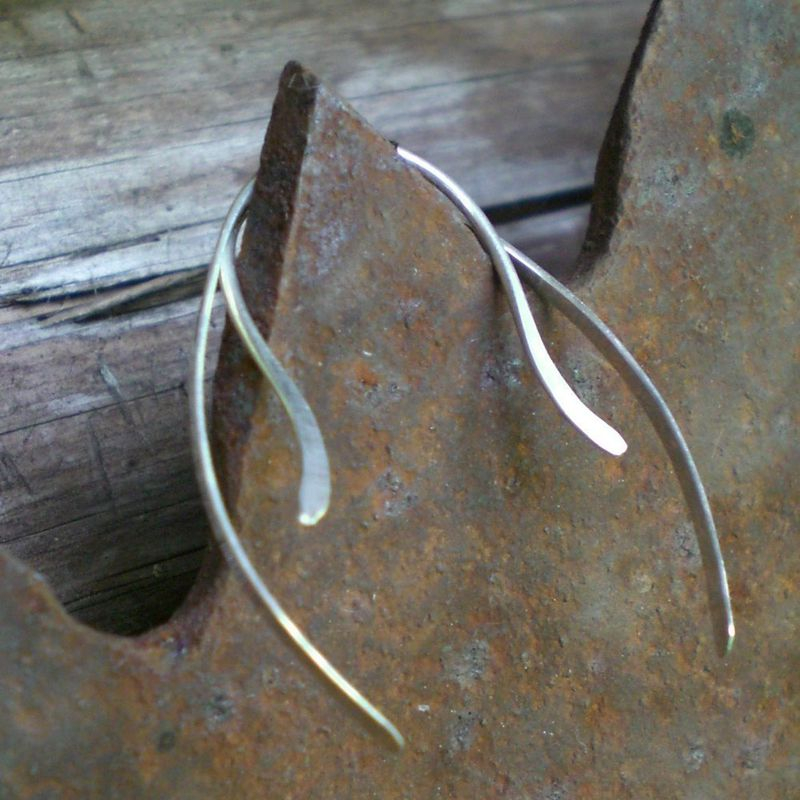 Sterling Silver Earrings, Hammered 3/4 Open Hoops - product images  of