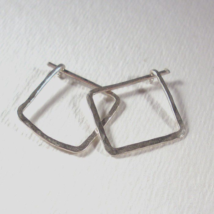 Sterling Silver Square Hoop Earrings Small - Hammered Silver Hoops - product image