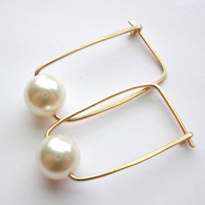 Ivory Pearl 14K gold fill hoop earrings, Swarovski Crystal Pearl Hoops - product images  of