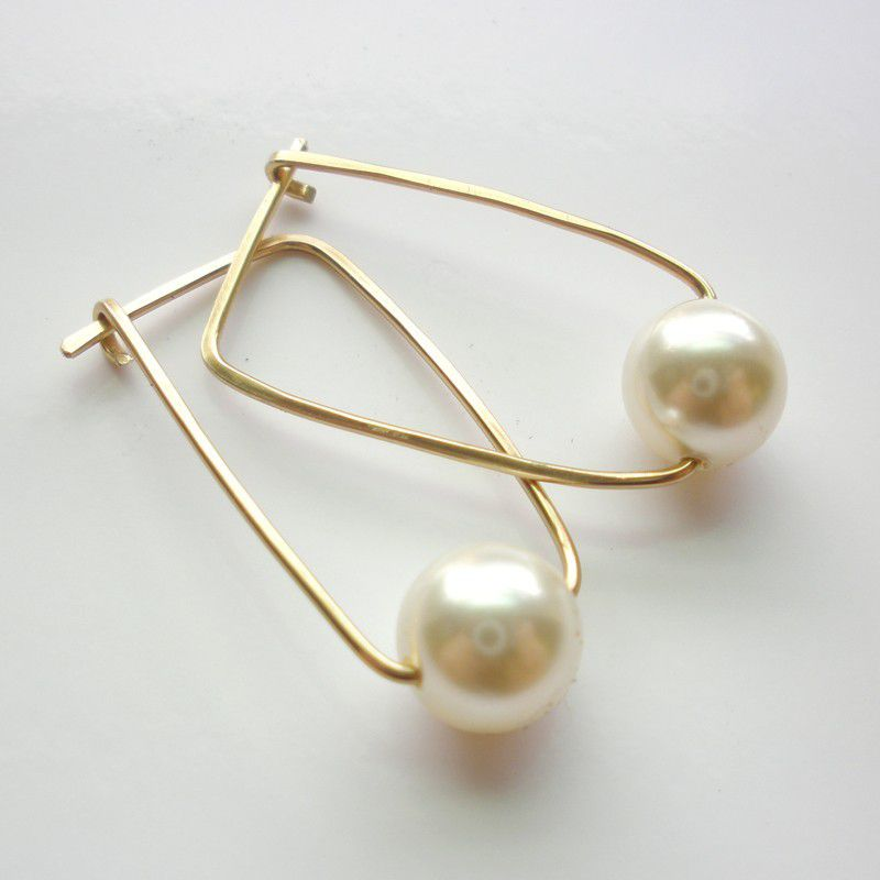 Ivory Pearl 14k Gold Fill Hoop Earrings Swarovski Crystal Hoops Product Images Of