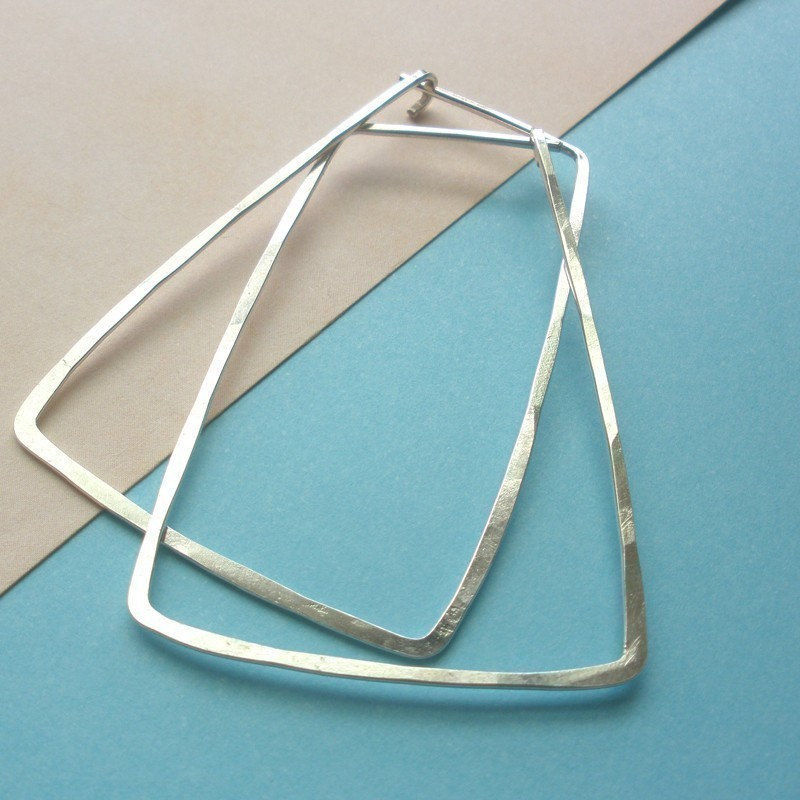 Sterling Silver Hammered  Trapezoid Hoop Earrings - Trapezoid Earrings - product image