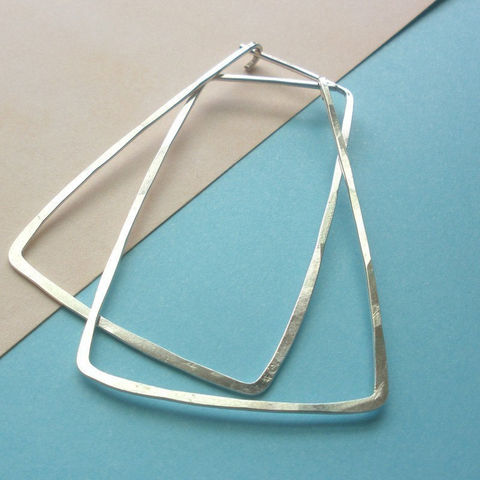 Sterling,Silver,Hammered,Trapezoid,Hoop,Earrings,-,Jewelry,sterling_silver,silver_earrings,sterling_earrings,silver_hoops,sterling_hoops,hammered_hoops,trapezoid_hoops,trapezoid_earrings,large_hoops,boho_hoops,sstargell,steph_stargell,valentines_day