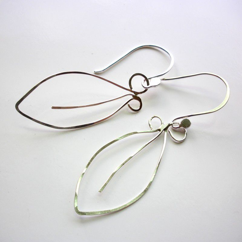 Sterling Silver Leaf Earrings - hammered dangles - product images  of
