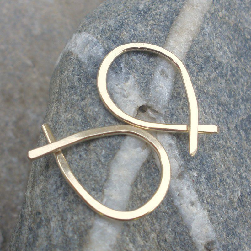 Gold Hammered Hoop Earrings - Fish  - Medium 14K Gold Fill Hoops - product image