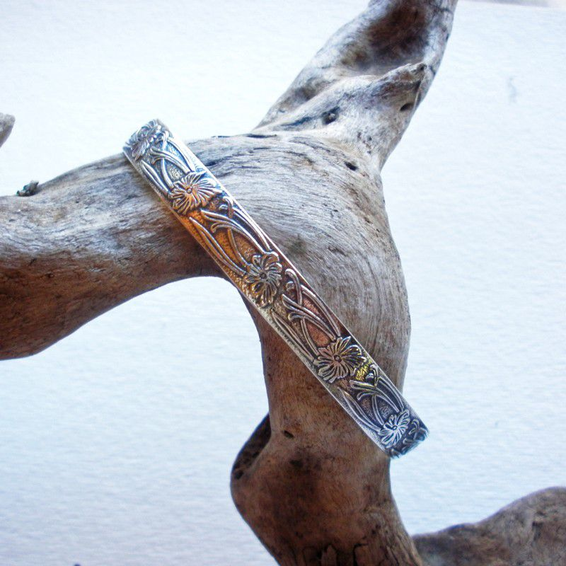 Sterling Silver Cuff - Floral Art Nouveau Cuff Bracelet - product images  of