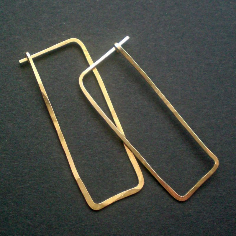 14K Gold Fill Hoop Earrings, Rectangle, Large, Gustav - product images  of