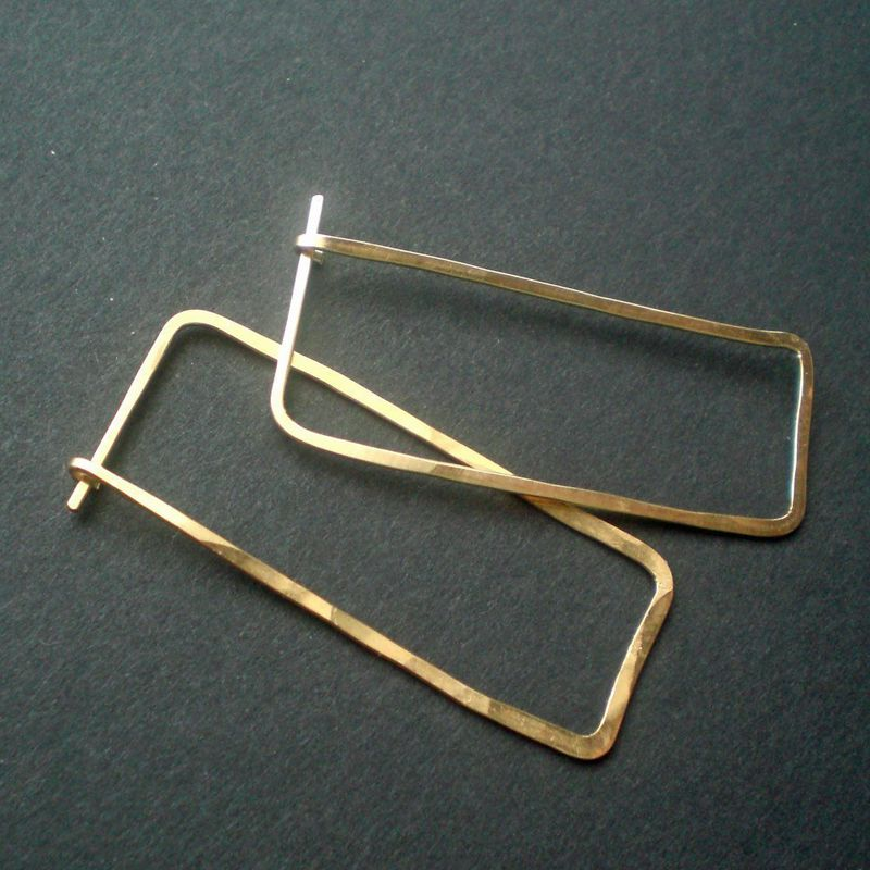 14K Gold Fill Hoop Earrings, Rectangle, Large, Gustav - product image