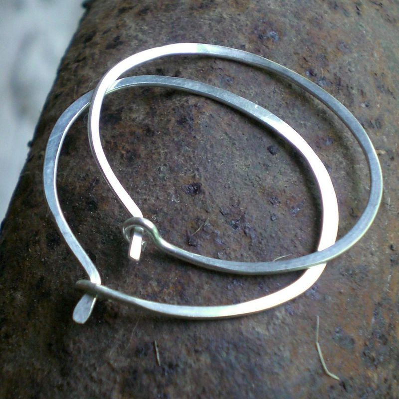 Sterling Silver Hoop Earrings- Oval Sterling Silver Hammered Hoop Earrings - product image