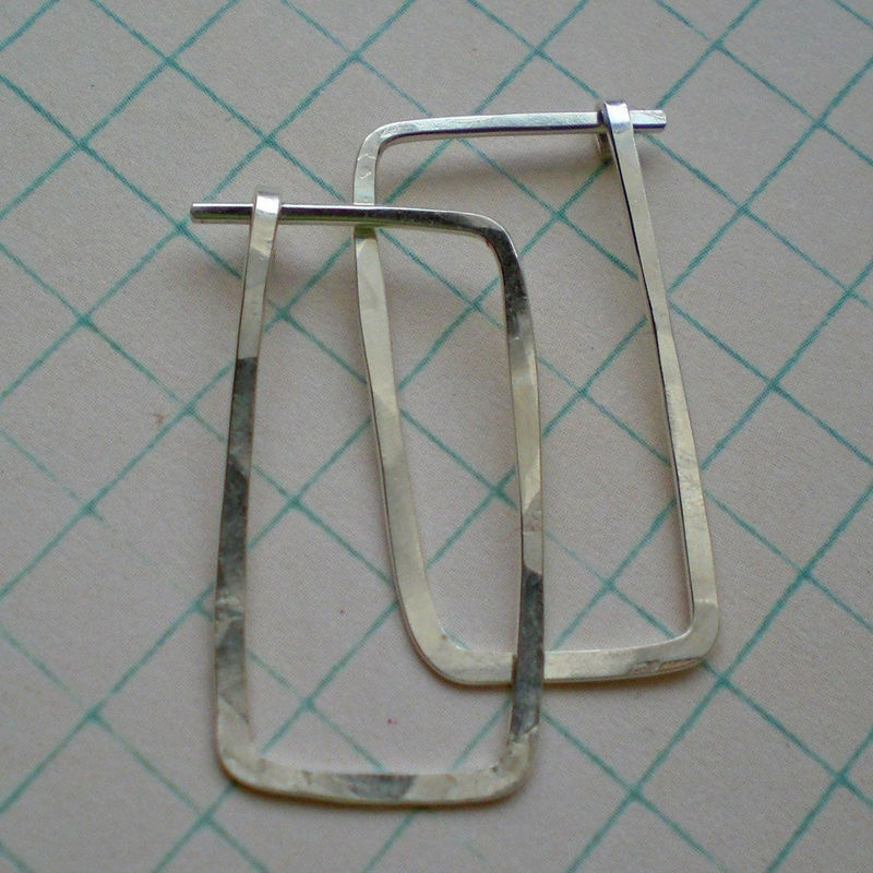 Sterling Silver Hammered Hoop Earrings - Short Rectangle - Klimt - product image