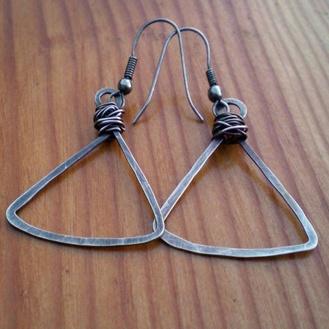 Sterling,Silver,Hammered,Triangle,Earrings,in,Oxidized,Jewelry,Wire_Wrapped,sterling_silver,hammered_silver,hammered_sterling,triangle_hoops,sterling_earrings,silver_earrings,silver_dangle,sterling_dangle,Triangle_Earrings,Triangle_Drops,sstargell,Triangel_Dangles