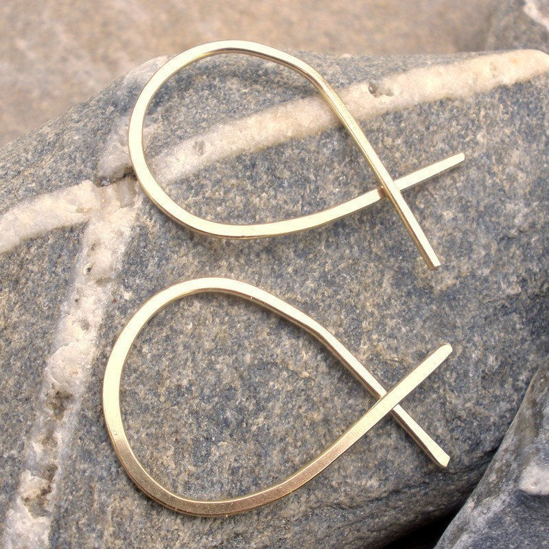 14K gold fill hammered hoop earrings - Modern - Large FIsh - product image