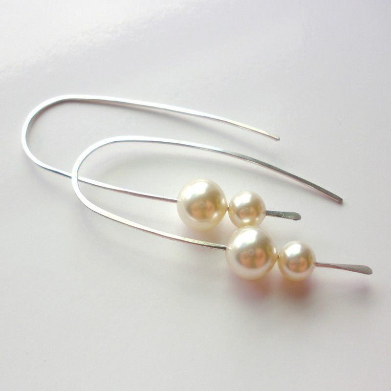 Sterling Silver Pearl Hoop Earrings, Swarovski Crystal Pearl Earrings - product images  of