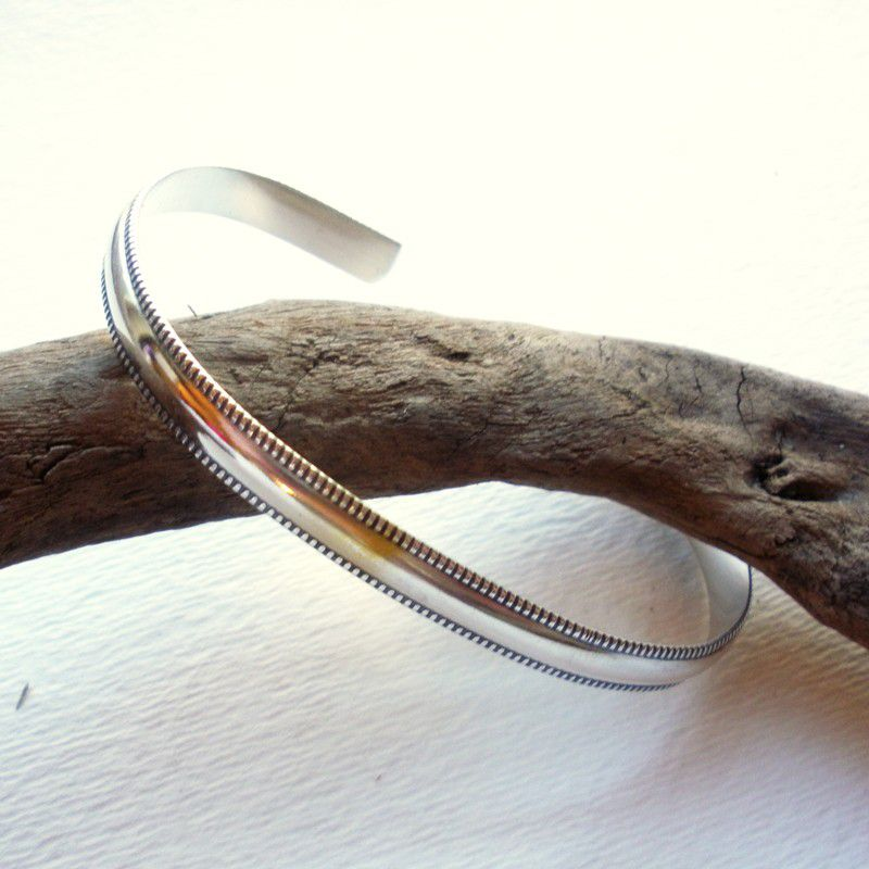 Sterling Silver Cuff Bracelet Wide Banded Cuff Bracelet - product image