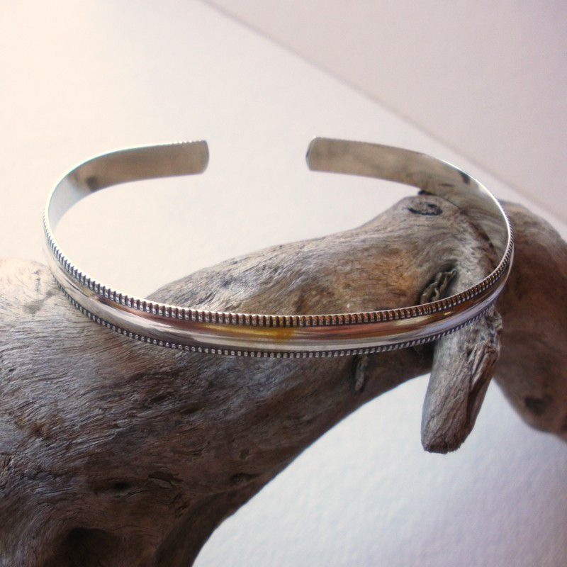 Sterling Silver Cuff Bracelet Wide Banded Cuff Bracelet - product images  of