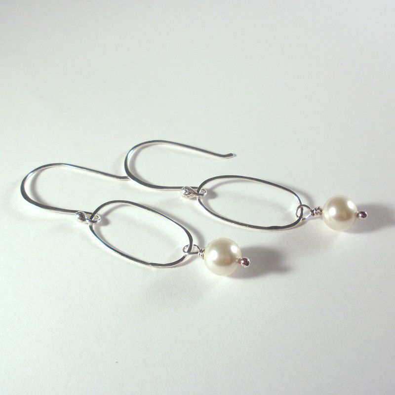 Sterling Silver and Pearl Earrings - Swarovski Pearl Dangle Hoops - product image