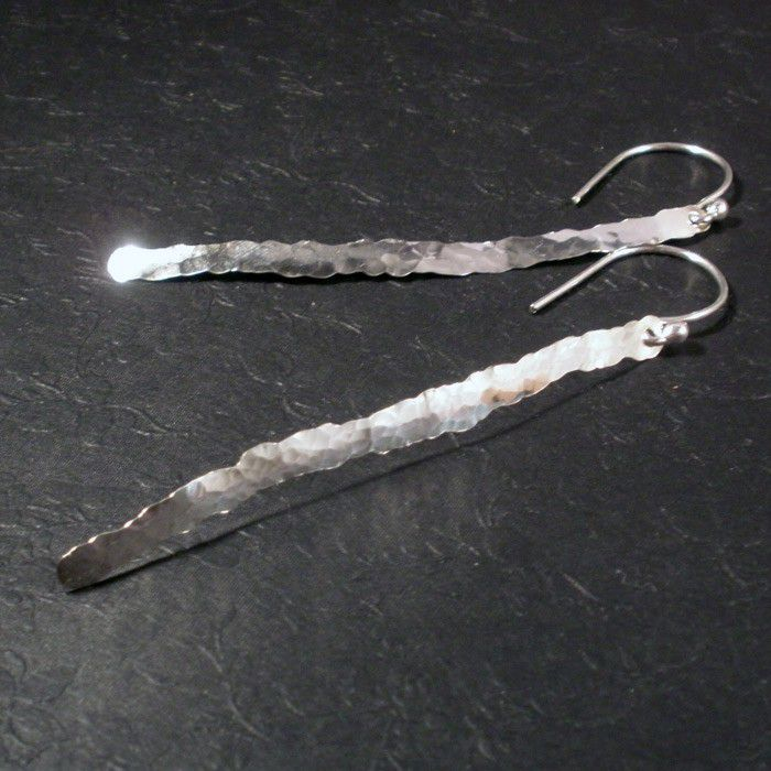Sterling Silver Hammered Bar Dangle Earrings - Hand Forged Sterling Bar Earrings - product images  of