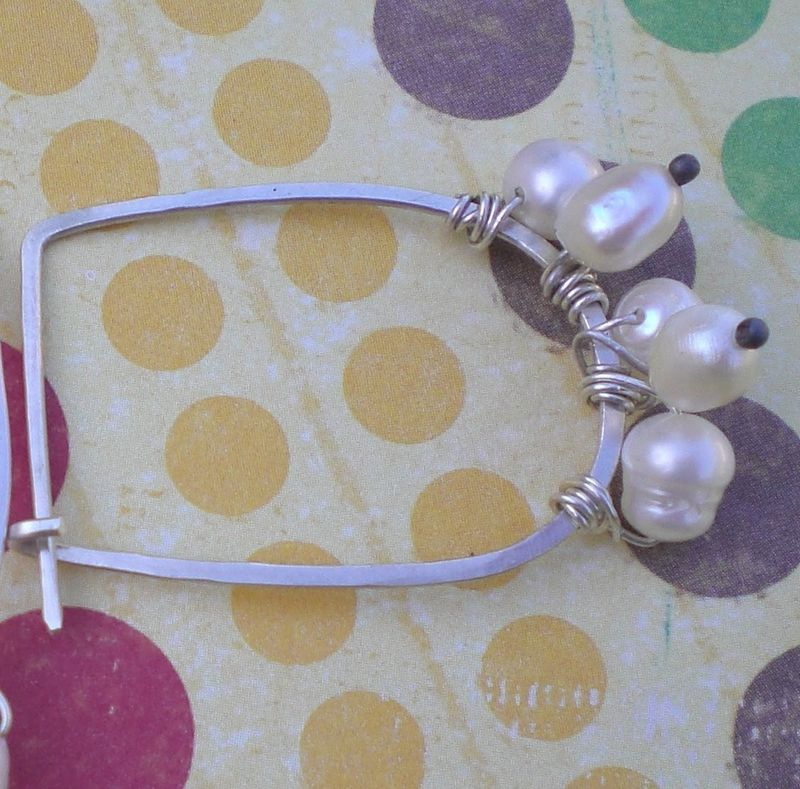 Sterling Silver Freshwater Pearl Hoop Earrings - Wirewrapped Hoops - product images  of