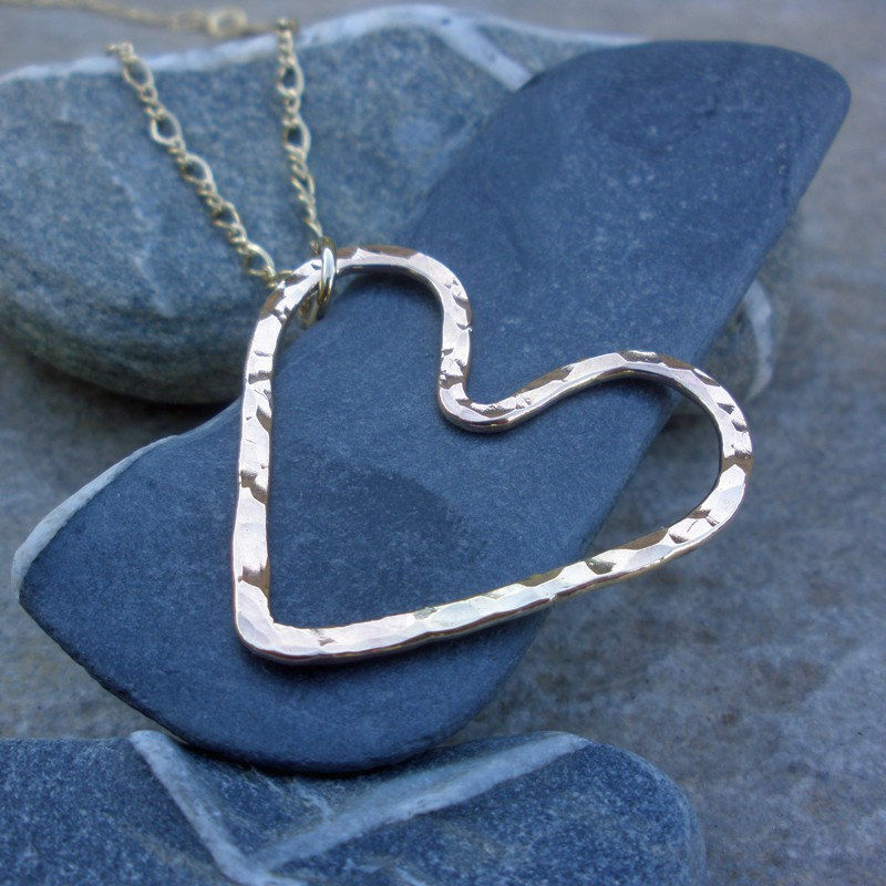 Gold Heart Necklace - Hammered 14K Gold Fill Pendant Necklace - product images  of