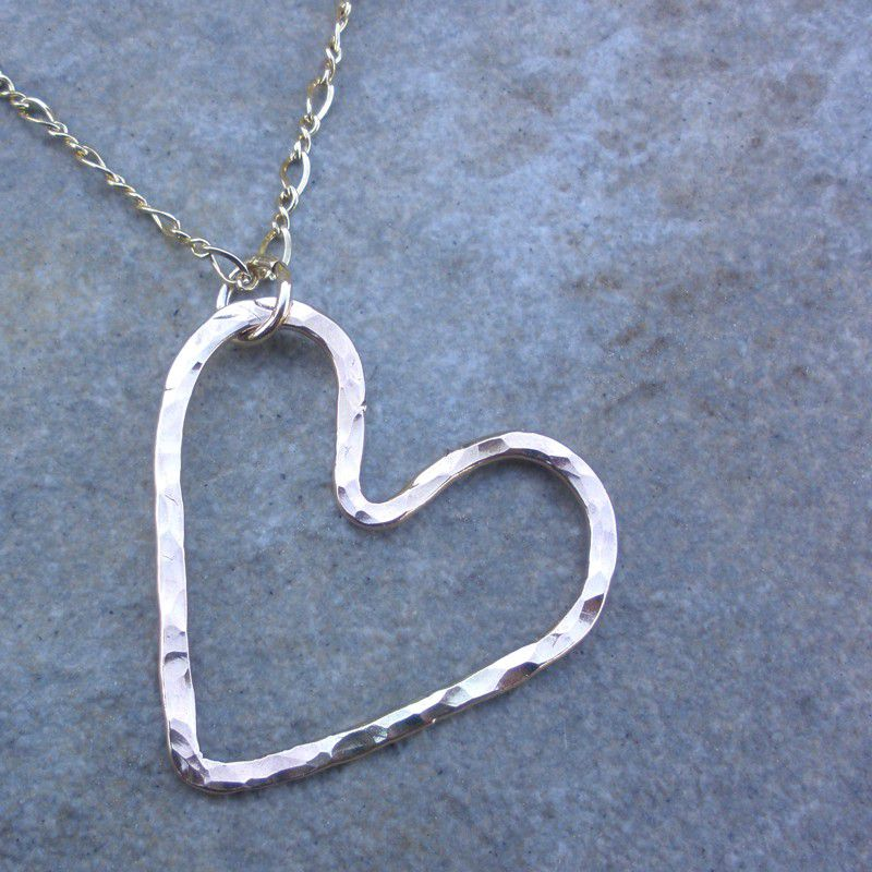 Gold Heart Necklace - Hammered 14K Gold Fill Pendant Necklace - product image