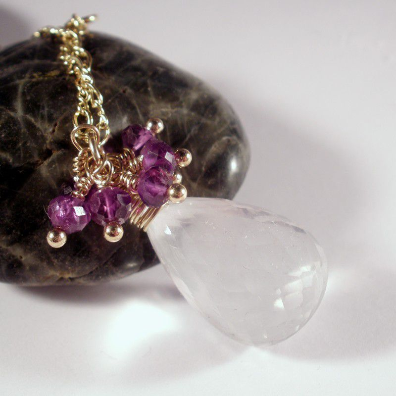 White Iolite, Amethyst, and 14K Gold Fill Wire Wrapped Necklace Pendant - product images  of