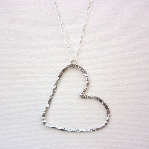 Sterling,Silver,Heart,Necklace,-,Hammered,Pendant,Jewelry,Metalwork,silver_heart,silver_necklace,sterling_heart,sterling_necklace,heart_necklace,hammered_heart,hammered_silver,hammered_sterling,love_necklace,18_inch_chain,sstargell,Valentines_Day,sterling_silver