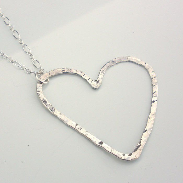 Sterling Silver Heart Necklace - Hammered Heart Pendant - product image