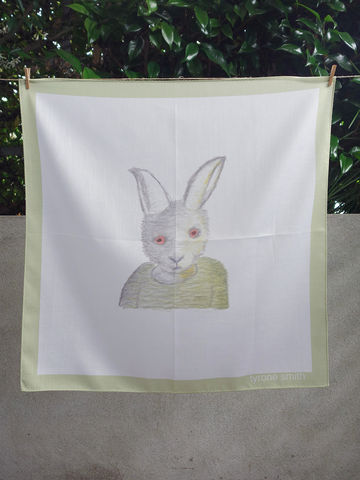 Soulful,Rabbit,Hanky,soulful, bunny, rabbit, Tyrone Smith, happyspace, hanky, handkerchief, print, inkjet, cotton, made in Japan