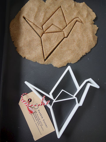 Origami,Crane,Cookie,Cutter,Printmeneer, cookie, biscuit, cutter, dough, baking, white, 3D, printed, print, origami, crane, japanese, Japan, paper, bird