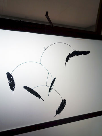 Falling,Feather,Mobile,salty and sweet, mobile, feather, portland, black, laser cut, gift