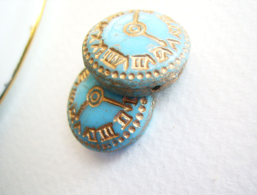 Vintage Clock Beads Rustic Glass Time 2 pieces BLUE - product images  of