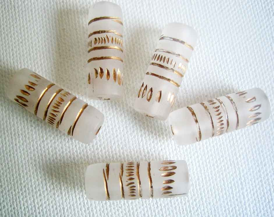 Acrylic tube beads etched clear with golden design 10 - product images  of