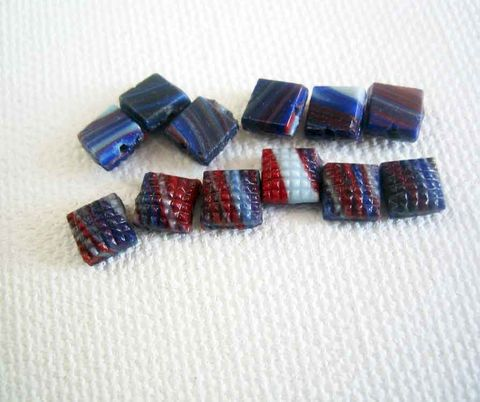 Square,Nail,Head,Tiny,Vintage,Glass,Beads,50,nail head beads, nailhead beads, antique beads, sew on beads, antique glass beads, vintage glass beads, square nailhead beads, blue and red beads