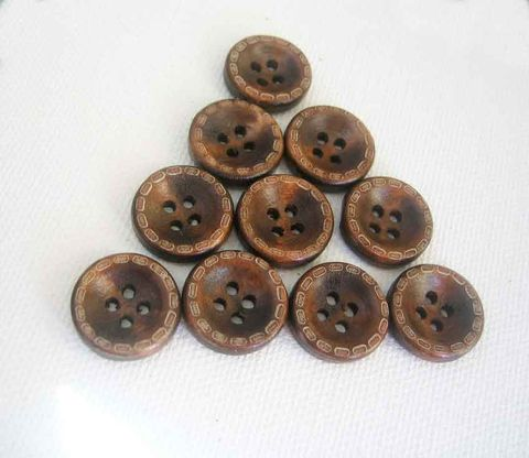 15mm,Coconut,Buttons,4-hole,indented,with,edge,pattern,10,pieces,coconut buttons, coconut shell, brown buttons, 4-hole buttons, natural material, small coconut buttons