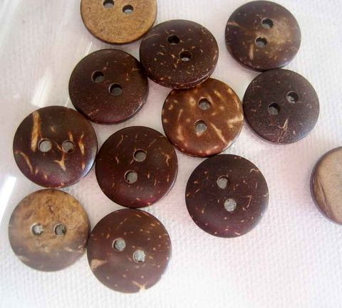 Coconut,Buttons,one,Dozen,15mm,two-hole,coconut buttons, coconut shell, brown buttons, 2-hole buttons, natural material, small coconut buttons