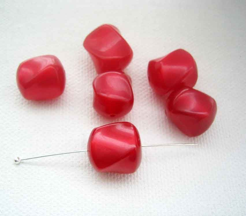 Red Moonglow Vintage Lucite Beads 8 pieces twist nugget barrels - product images  of