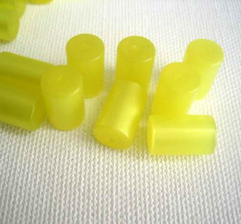 Vintage,Lucite,Tube,Beads,yellow,moonglow,round,tubular,12,pieces,vintage lucite beads, yellow moonglow beads, lucite tube beads, vintage tube beads, vintage plastic beads
