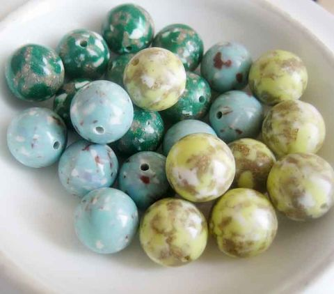 Vintage,Lucite,Beads,speckled,10mm,blue,green,or,yellow,8,pieces,lucite beads, vintage speckle beads, lucite speckle beads, mottled beads