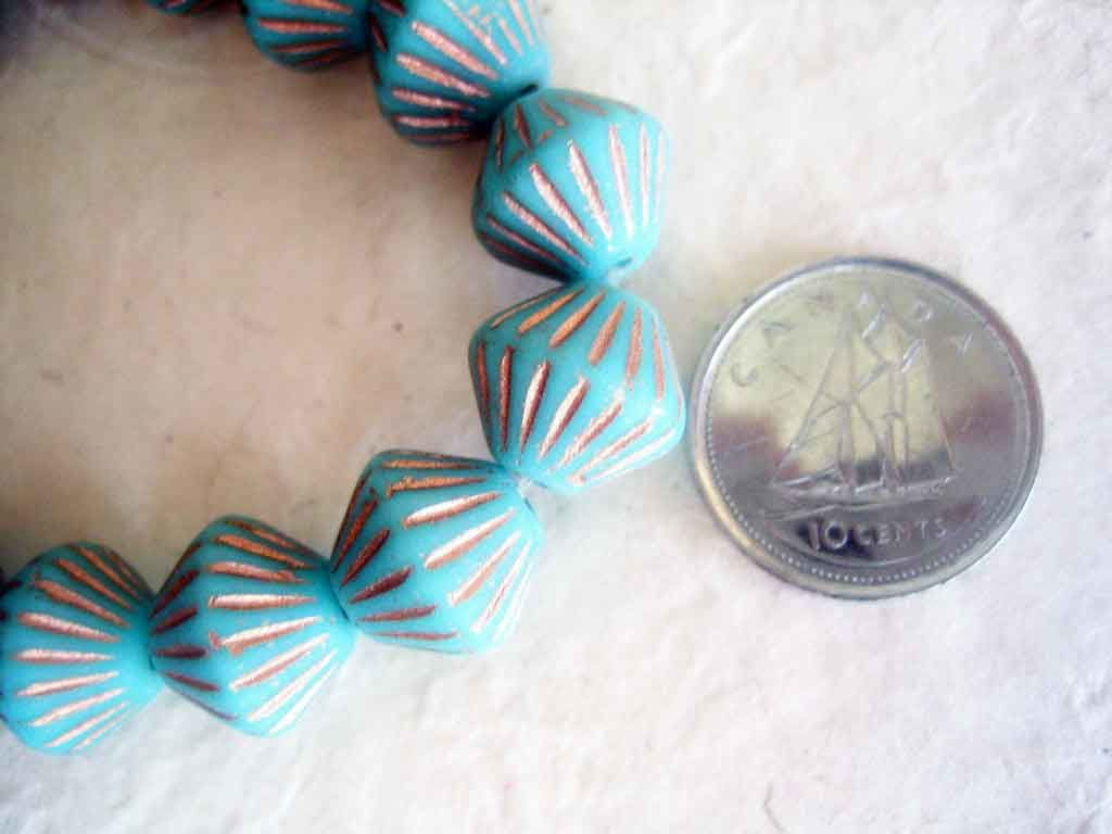 Czech Glass Bicone Beads Turquoise and copper 10mm 15 pieces - product images  of