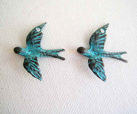 Mykonos,Bird,Pendants,,2,Cast,Metal,Doves,,Green,Patina,Mykonos bird pendants, Greek Cast Metal, Metal Dove Pendants, Green Patina Pendants, large bird charms, Peace Dove pendants, metal bird pendants