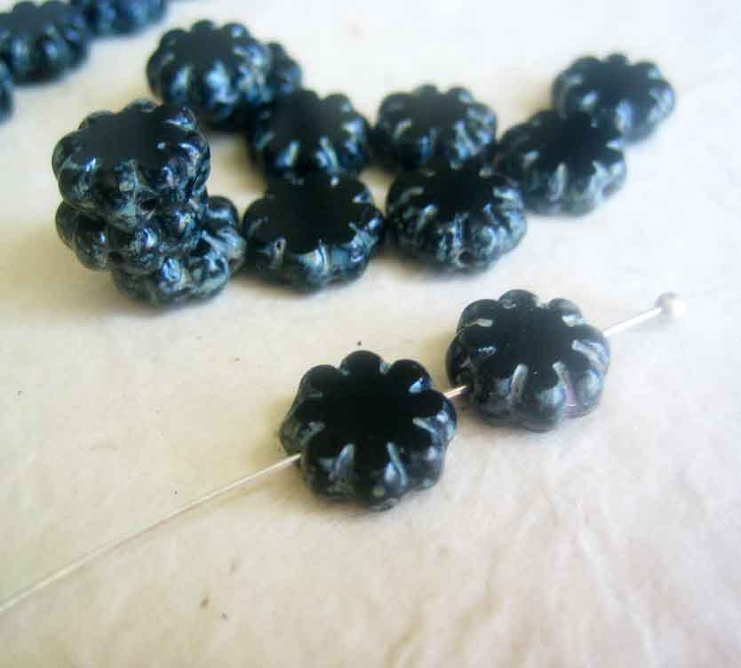 Black Cactus Flower Beads, 9mm Czech Glass, 25 pieces - product images  of