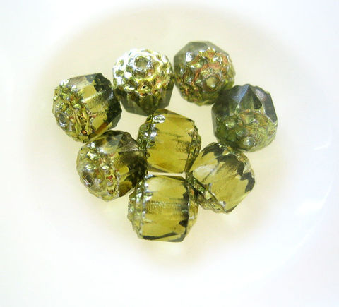 Czech,Glass,Cathedral,Beads,Olivine,8mm,32,beads,Supplies,Bead,cathedral_beads,Czech_glass_beads,,bulk beads, bead lot, faceted_Czech_glass,glass_cathedral_bead,olivine_glass_beads,green_cathedral_bead,olive_green_beads,8mm_cathedral_beads,jewelry_making,craft_supplies