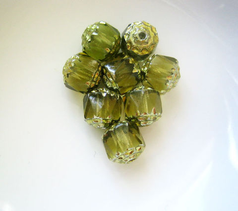 Czech,Glass,Cathedral,Beads,Olivine,8mm,8,beads,Supplies,Bead,cathedral_beads,Czech_glass_beads,faceted_Czech_glass,glass_cathedral_bead,olivine_glass_beads,green_cathedral_bead,olive_green_beads,8mm_cathedral_beads,jewelry_making,craft_supplies