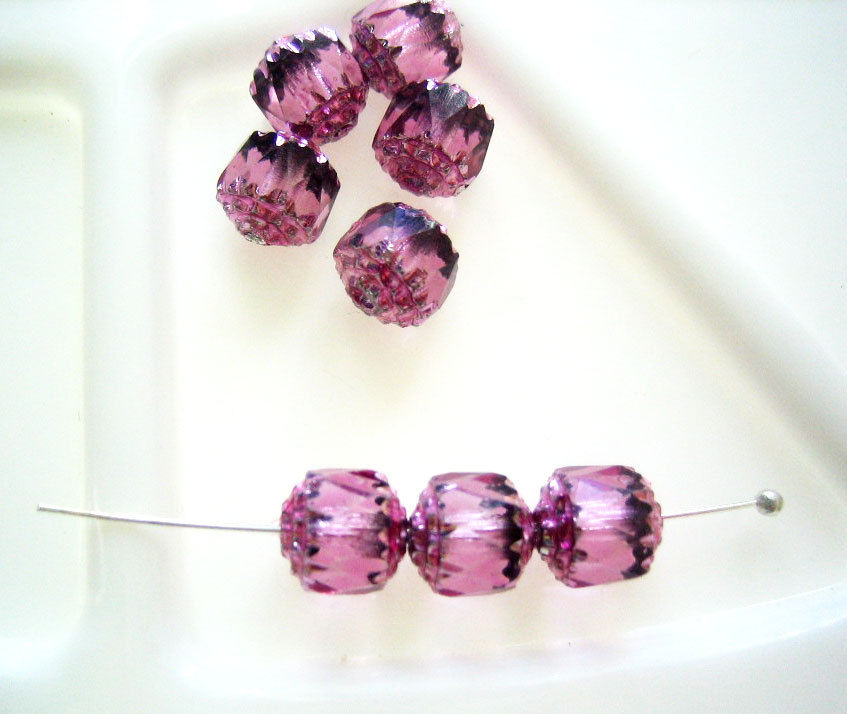 32 Czech Glass Cathedral Beads, 8mm fuchsia - product images  of
