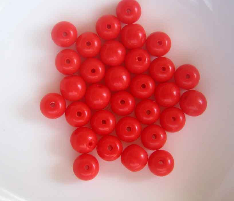 100 6mm Opaque coral red Czech glass beads - product images  of