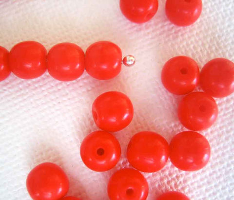 Opaque,coral,red,Czech,glass,beads,,50,Beading supplies, jewellery supplies, Czech glass beads, Druks, Red Beads, Coral Red, 6mm round beads, Czech glass beads Canada, Ontario beads