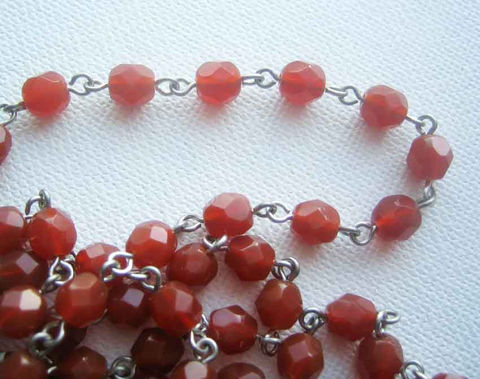Rosary,Chain,,Beadlinx,,6mm,Czech,glass,beads,,price,per,foot,,carnelian,bead chain, beaded chain, rosary chain, beadlinx, carnelian beads, carnelian glass beads, 6mm bead chain