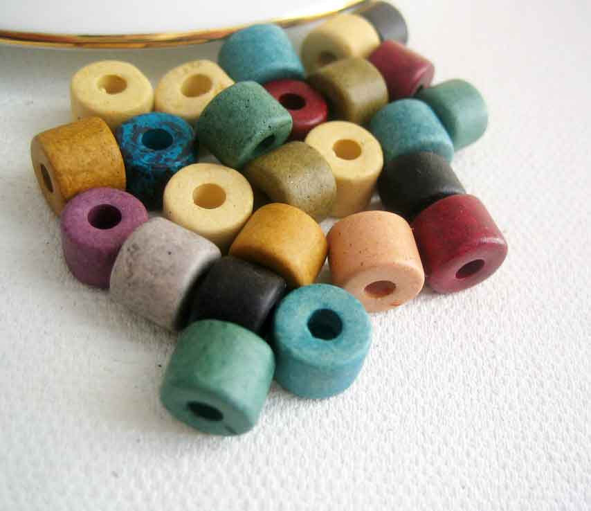 Greek Ceramic short tube beads, Earthy mix of 25 pieces - product images  of