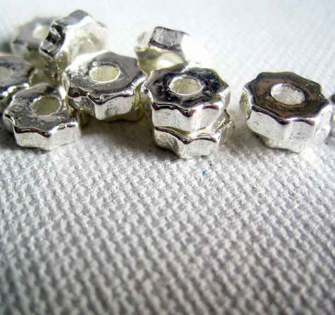 TIny,Gear,Beads,,6mm,metallic,ceramic,,24,pieces,gear beads, Greek ceramic beads, Mykonos beads, small gear beads, steampunk beads,steampunk supplies, fine silver beads, gear shaped,6mm beads