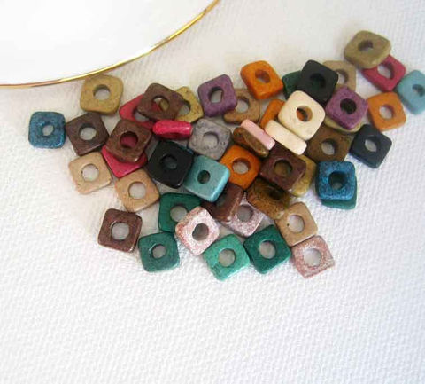 Greek,Ceramic,Tiny,Square,Washer,Beads,,50,matte ceramic beads, Greek ceramic beads, Mykonos beads, tiny beads, small beads, earthy beads